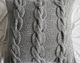 "Gray Knitted Pillow Cover - 14"" x 14"" - Ready to ship"
