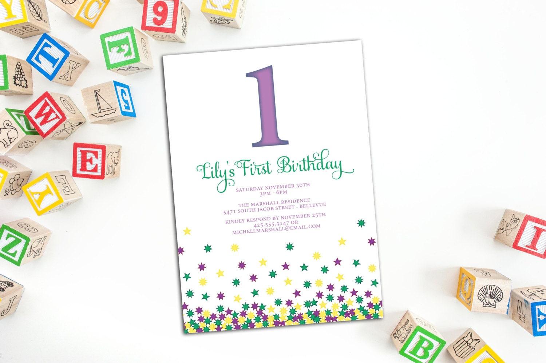 Children\'s Birthday Party Invitation with Envelopes, Falling Stars ...