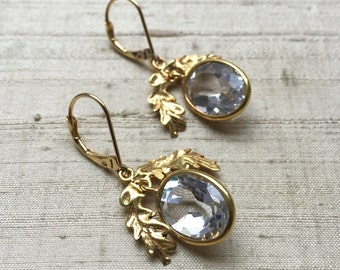 White Topaz and Gold Plated Bronze- The Oak Leaf Earrings