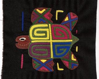 Four Direction Sea Turtle Swimming Mola/Molita - Hand Sewn Kuna Indian Reverse Applique