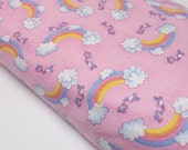 Kiddy Flannel Baby Girl Rainbows Clouds Birds Quilting Sewing Fabric Quilters A.E. Nathan Co Flannel Sewing Fabrics