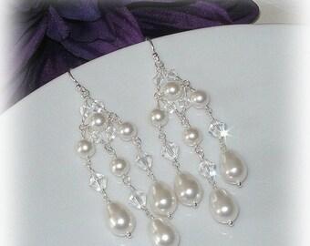 ON SALE 15% OFF Swarovski Crystal and Pearl Chandelier Earrings