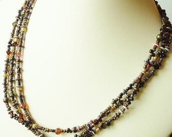 pyrite, shell and bead 3-strand necklace - 18 inches