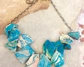 Aqua Jasper Necklace - Big Bold Chunky Aqua Blue Jasper Slab Handmade Crystal Necklace OOAK