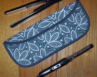 Curling Iron Case // Flat Iron Cover // For Travel Or The Gym // Insulated // Amy Butler Violette // Gray Leaf