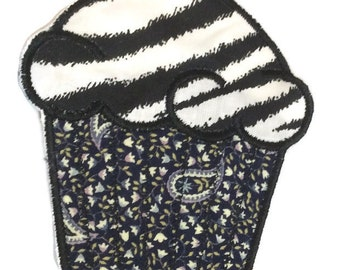 CUPCAKE Black Zebra Embroidered Iron on APPLIQUE Handmade