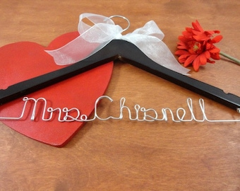 Personalized Bridal Hangers - Brides Coat Hanger - Bridal Photo Props - Last Name Hangers - Shower Bridal - Hangers with Names - Bride Gift
