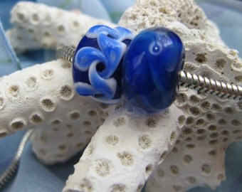 BHB Catch the Wave Cobalt Blue and White big hole bead set of 2