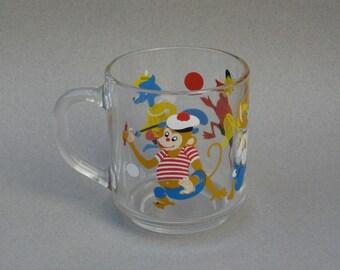 Vintage Cartoon Mug Arcoroc France Glass Coffee Cup Monkey Rabbit Duck Fox