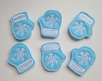 Soft Blue Felt Mittens Applique -  Felt Machine Embroidered Feltie - Applique -290