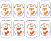 Valentine TAGS FOX lg  INSTANT Digital Download  Collection of original art  for  gift Tags  Magnets  Cards  Collecting and decor