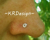 Sterling Silver - Swirl - Nose Stud - Nose Ring - Post Earrings / Free US Shipping