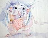 Rat painting. Original Unique artwork. Rat Art. Pet Rat. Hand embroidery & Watercolor Painting. Framed.