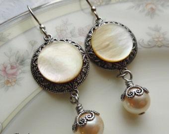 Antique Mother of Pearl Button Earrings, Harvest Moon