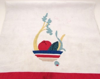 Vintage Tea Towel - Bowl of Vegetables - Linen - Applique - Embroidered - Hand Towel - Kitchen Towel - Food Veggies