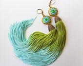 Tassel Earrings - Gypsy Earrings- Bellydance Earrings - Bohemian Earrings - Boho Jewelry- Festival Earrings - Hippie - Green Aqua Gold