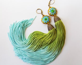 Tassel Earrings - Gypsy Earrings- Bellydance Earrings - Bohemian Earrings - Boho Jewelry- Festival Earrings - Hippie - Green Aqua Gold