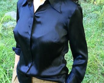 Black Silk Satin Blouse Size Medium