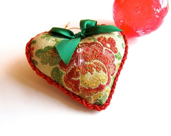 "3"" Red and Green Brocade Heart Ornament, Beads and Bow"