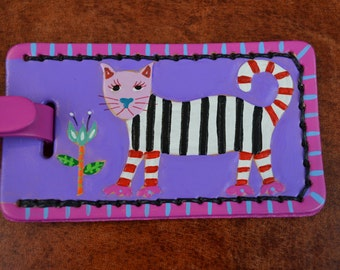 Luggage Tag with Striped Cat