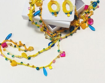Yellow Hand Crocheted and Beaded Necklace and Earring Set