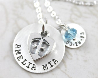Mother's Day, Baby Footprint Necklace, custom name, Custom Hand Stamped, New Mommy Necklace, Personalized Jewelry, Personalized Necklace, LE