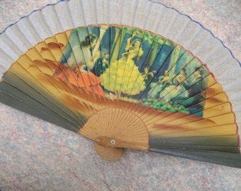 vintage Spanish Fan 60's Spanish Flamenco wooden fan  FLamenco dance fan free shipping