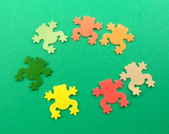 Frog Punches, Paper Punched Frogs, Tiny Frog, Multi Color Paper Frogs, Cardstock Frogs, Scrapbook Embellishment, Card Making Supply