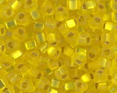 Triangle 5/0 Beads TR-6F Matte Silver Lined Yellow