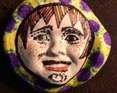 Handmade clay face  goddess  yellow woman doll head  jewelry craft supplies  cabochon  mosaics dolls jewelry craft  spirit