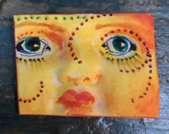 clay face jewelry craft supplies  handmade cabochon large woman  mask  polymer  indings   doll parts head mask stripes tribal