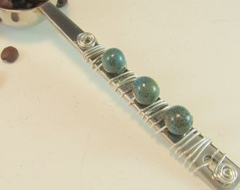 Coffee Scoop/Hand Beaded/Coffee Measure/One Tablespoon Measure