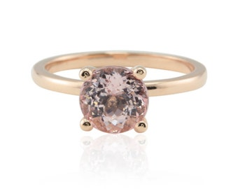 Round Morganite Solitaire Ring with Diamond Side Halo - Custom Order Link for michaelbarrett - 3rd payment