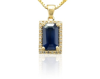 Sapphire Pendant - Emerald cut Blue Sapphire Pendant with Diamond Halo in 14k Yellow Gold - September Birthstone Gift - LS4531