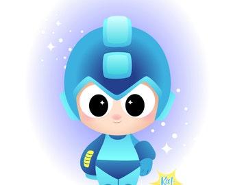 SALE!  Open Eyed - Megaman - Rockman - Protoman - Super Fighting Robot - Nintendo Digital Download Print