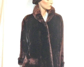Mouton Coat Vintage 50s Deep Brown Size 12 Sheared Fur Shearling