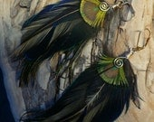 Gorgeous iridescent black feather with tiny peacock eye earrings, cruelty free feathers