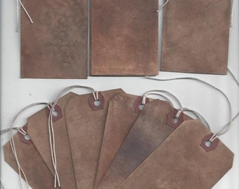 Hand Dyed Grungy Farmhouse Rustic Primitive Blank Tags set of 10