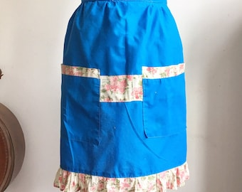 Vintage Half Apron, Bright Blue with Pockets and Calico Trim