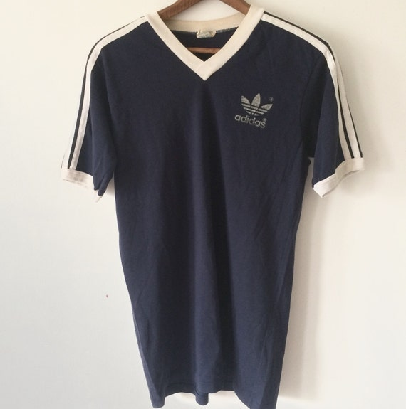 Vintage adidas 1980s t shirt v neck ringer tee navy and white for Adidas ringer t shirt