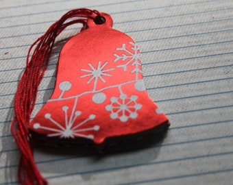 18 Bell shaped Gift Tags red foil with starburst/flower paper over chipboard Christmas Hang Tags