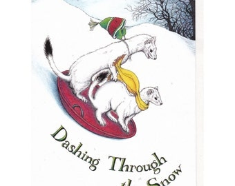 Dashing Ermine Boxed Set of 6 Cards Original Pen and Colored Pencil Drawing Holiday