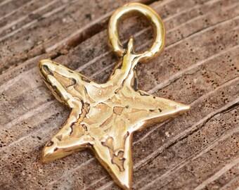 Bronze Star Charm, Artisan Gold Bronze Star, CH-93-B