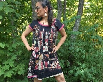 Custom Made Ancestor Dress made with organic linen/silk and vintage saris.  Art dress, fiber arts, OOAK wearable art, womens fine art dress