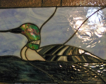 Handmade Stained Glass Common Loon (Gavia immer) Panel