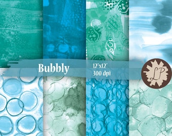 Blue Digital Papers, painted bubbles background, blue for scrapbooking, blog banners, etsy photo, planner dividers, giftwrap by LIZPLUMMER