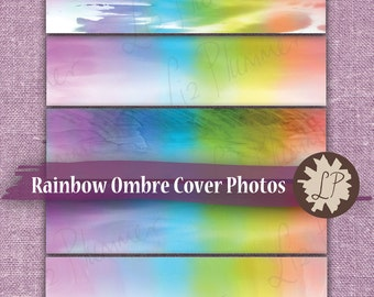 Rainbow Ombre Banner - Etsy Cover Photo - Watercolor Etsy Banners for new shop home, 3360 x 840 px - 5 watercolour ombre designs