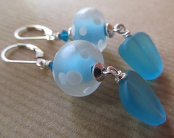 Polka Dots - Blue and White Dotted Artisan Lampwork and Turquoise Blue Sea Glass Sterling Silver Leverback Earrings