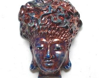 Buddha Goddess Face Mask Wall Art in Raku Ceramics in Copper Red Blue