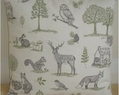 "Woodland Euro Sham Pillow Cover 26x26 Fox Stag Squirrel Rabbit Owl Trees 26"" Cushion Case Pillowcase Grey Green Foxes Stags Owls Squirrels"